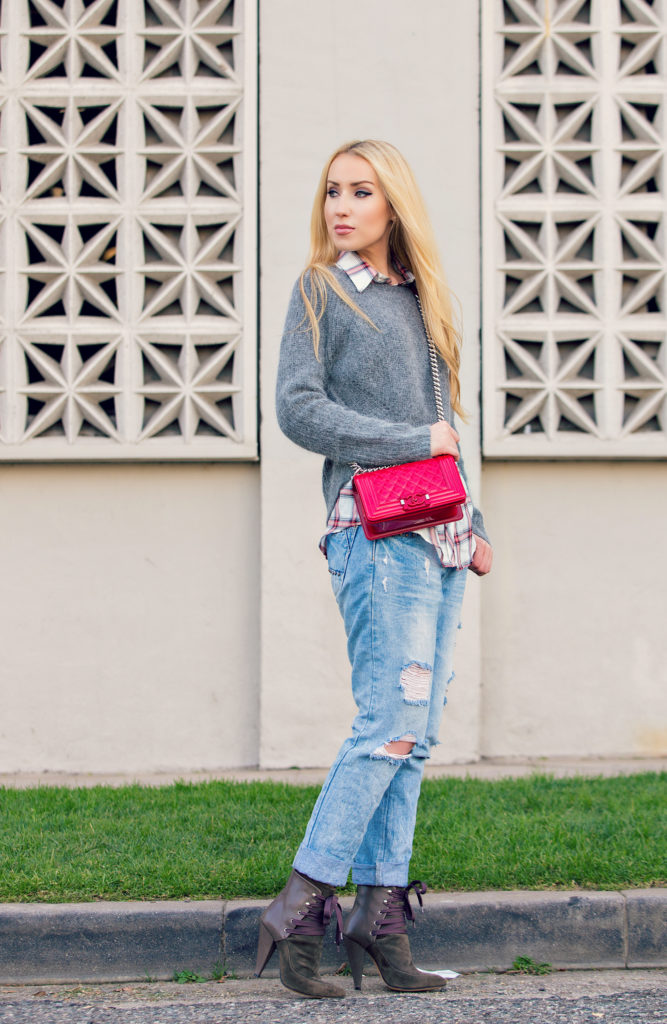 Maje Sweater,Boyfriend Jeans with Chanel Bag Look,Boyfriend Jeans and Plaid Shirt Look,Chanel Boy Bag,Red Chanel Boy Bag,Zara Boyfriend Jeans and Sweater Look,Ripped Boyfriend Jeans,Golden Hour in LA,Red Chanel bag,Iro Kansas Booties ,the boy bag