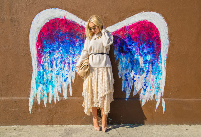 Colette Miller LA graffiti,Angel Wings Graffiti,Beige 2015 Spring Outfit idea,Free People French Court Lace Slip Dress,Bow Belt,Lanvin Love Necklace,Pastel Beige Outfit,Free People French Courtship Slip,Beige Chanel Bag Outfit,Zara Cashmere Sweater,RETNA graffiti LA, Christian Louboutin Pigalle,Lace Skirt ,angel on my shoulder