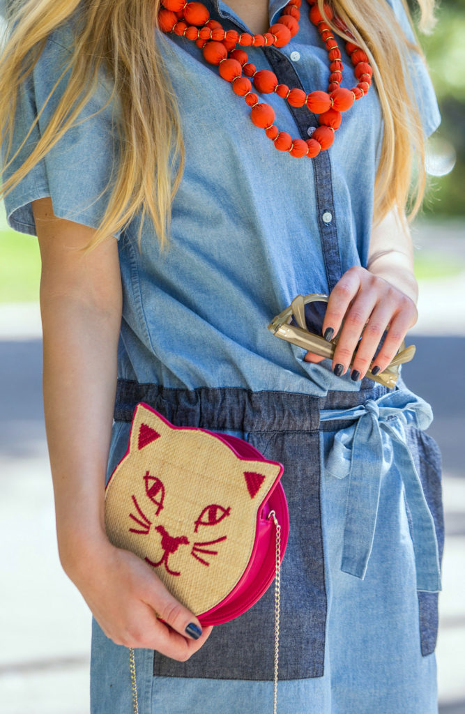 Charlotte Olympia Summer Kitty,Charlotte Olympia Bag,Charlotte Olympia Raffia Kitty,Denim dress Trend,Red Kitty Bag,Kitty Raffia bag,Cat bag,Panama Hat and Raffia Charlotte Olympia Bag,Kitty Bag,Charlotte Olympia Kitty Bag,Kitty Hat,The Cat's Meow,Kate Spade Saturday Necklace