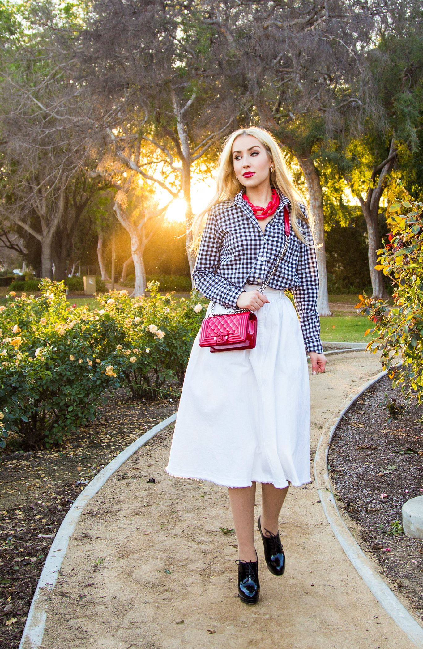 Checkered Shirt,Red And white Outfit,Midi White Skirt,Red Chanel Bag,Black and White with a pop of red outfit,Chanel Boy Outfit,Patent Chanel Boy in Red,Diana Broussard Nate,Chanel Boy,Diana Broussard Nate shocked pink,gingham,H&M Skirt,Gap shirt ,Dimmed