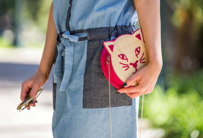 Charlotte Olympia Summer Kitty,Charlotte Olympia Bag,Charlotte Olympia Raffia Kitty,Denim dress Trend,Red Kitty Bag,Kitty Raffia bag,Cat bag,Panama Hat and Raffia Charlotte Olympia Bag,Kitty Bag,Charlotte Olympia Kitty Bag,Kitty Hat,The Cat's Meow