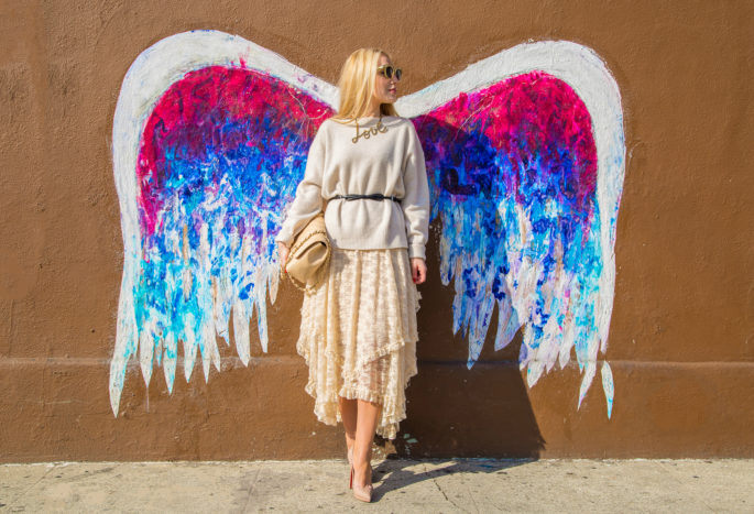 Colette Miller LA grafitti,Angel Wings Grafitti,Beige 2015 Spring Outfit idea,Free People French Court Lace Slip Dress,Bow Belt,Lanvin Love Necklace,Pastel Beige Outfit,Free People French Courtship Slip,Beige Chanel Bag Outfit,Zara Cashmere Sweater,RETNA graffiti LA, Christian Louboutin Pigalle,Lace Skirt