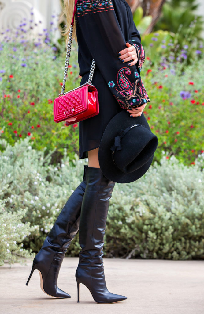 Gianvito Rossi Boots,Red Chanel Boy Bag,Black and Red Outfit,Off the shoulder spring dress,Gianvito Rossi Stilo Boots,Off the shoulder dress and boots outfit,Coachella 2015 Outfit Ideas,Coachella Outfits 2015,Zadig&Voltaire hat,Embroidered off the shoulder dress,Red Patent Leather Chanel Boy