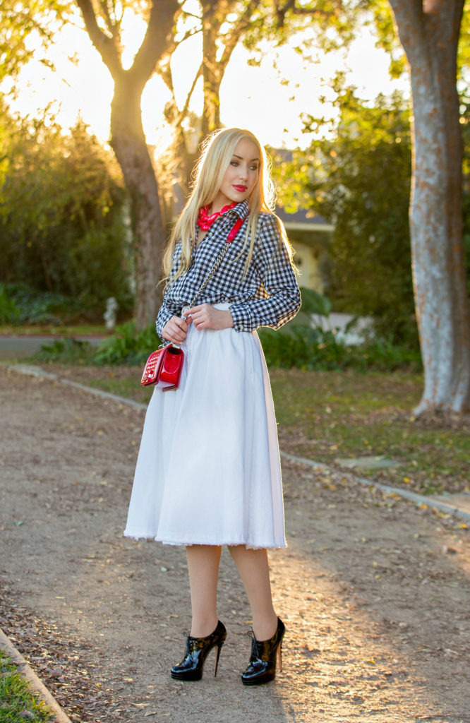 Checkered Shirt,Red And white Outfit,Midi White Skirt,Red Chanel Bag,Black and White with a pop of red outfit,Chanel Boy Outfit,Patent Chanel Boy in Red,Diana Broussard Nate,Chanel Boy,Diana Broussard Nate shocked pink,gingham,H&M Skirt,Gap shirt ,Longer Days
