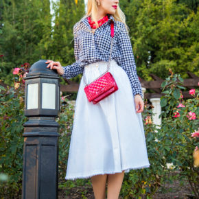 Checkered Shirt,Red And white Outfit,Midi White Skirt,Red Chanel Bag,Black and White with a pop of red outfit,Chanel Boy Outfit,Patent Chanel Boy in Red,Diana Broussard Nate,Chanel Boy,Diana Broussard Nate shocked pink,gingham,H&M Skirt,Gap shirt