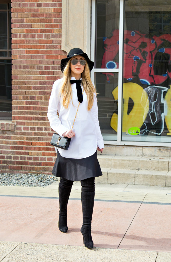 white shirt with Black Skirt Outfit Inspiration,Black Tie Attire,Casadei OTK Boots,Black and White Outfit,Black OTK Boots with the Hat,Black and White Look,White Shirt and Hat Outfit,Saint Laurent Bag,Hat Look,Zadig and Voltaire Hat,Monochromatic Look,Casadei Boots,Zara Midi Skirt,Peplum Skirt,Ray- Ban Silver Mirror Sunglasses