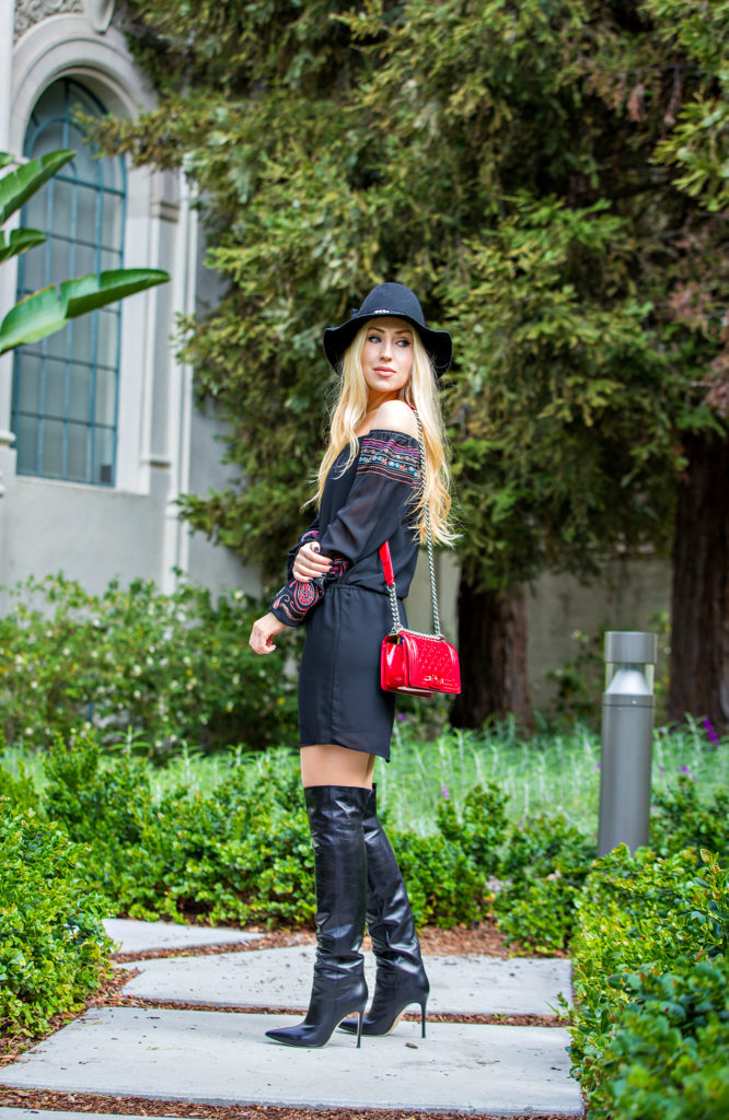 Gianvito Rossi Boots,Red Chanel Boy Bag,Black and Red Outfit,Off the shoulder spring dress,Gianvito Rossi Stilo Boots,Off the shoulder dress and boots outfit,Coachella 2015 Outfit Ideas,Coachella Outfits 2015,Zadig&Voltaire hat,Embroidered off the shoulder dress,Red Patent Leather Chanel Boy,Coachella calling