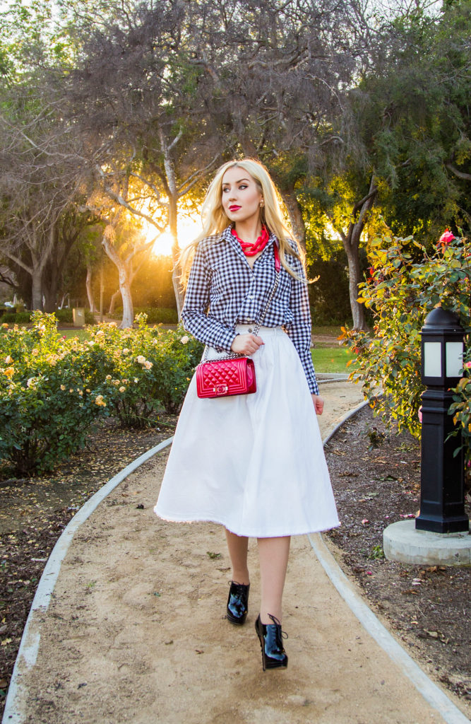 Longer Days,Checkered Shirt,Red And white Outfit,Midi White Skirt,Red Chanel Bag,Black and White with a pop of red outfit,Chanel Boy Outfit,Patent Chanel Boy in Red,Diana Broussard Nate,Chanel Boy,Diana Broussard Nate shocked pink,gingham,H&M Skirt,Gap shirt