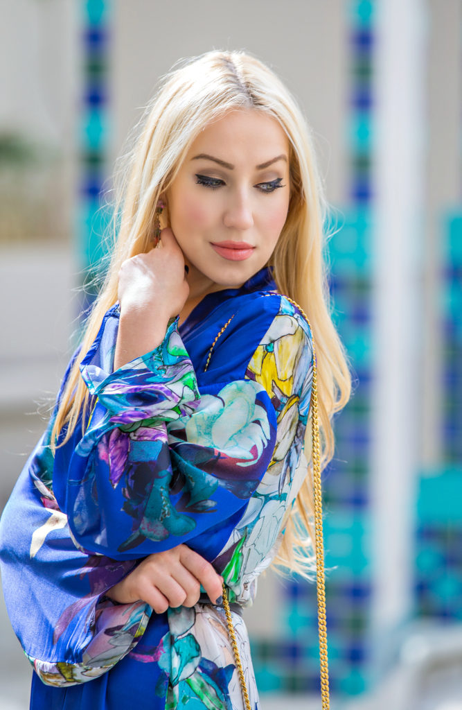 Kimono with tassels,Saint Laurent and Christian Louboutin Look,Kimono Jacket Trend,Kimono Print,Into the Blue,Kimono Fringe,Floral Kimono,Silk Kimono,Kimono Styling,Blue Kimono,James Perse Dress,Tassels Trend,what to wear to Coachella, Coachella 2015, Coachella Fashion,Fringed