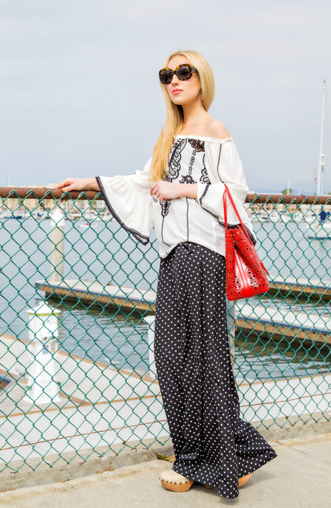 Bohemian outfit idea,Off the shoulders white blouse,Alaia Bag,Zara Pants,Boat Outfit, off the shoulder peasant top, Alaia Laser Cut Bag,Off the shoulders embroidered top,off the shoulders] white top,Hale Bob top,jeffrey Campbell shoes, jeffrey campbell clogs
