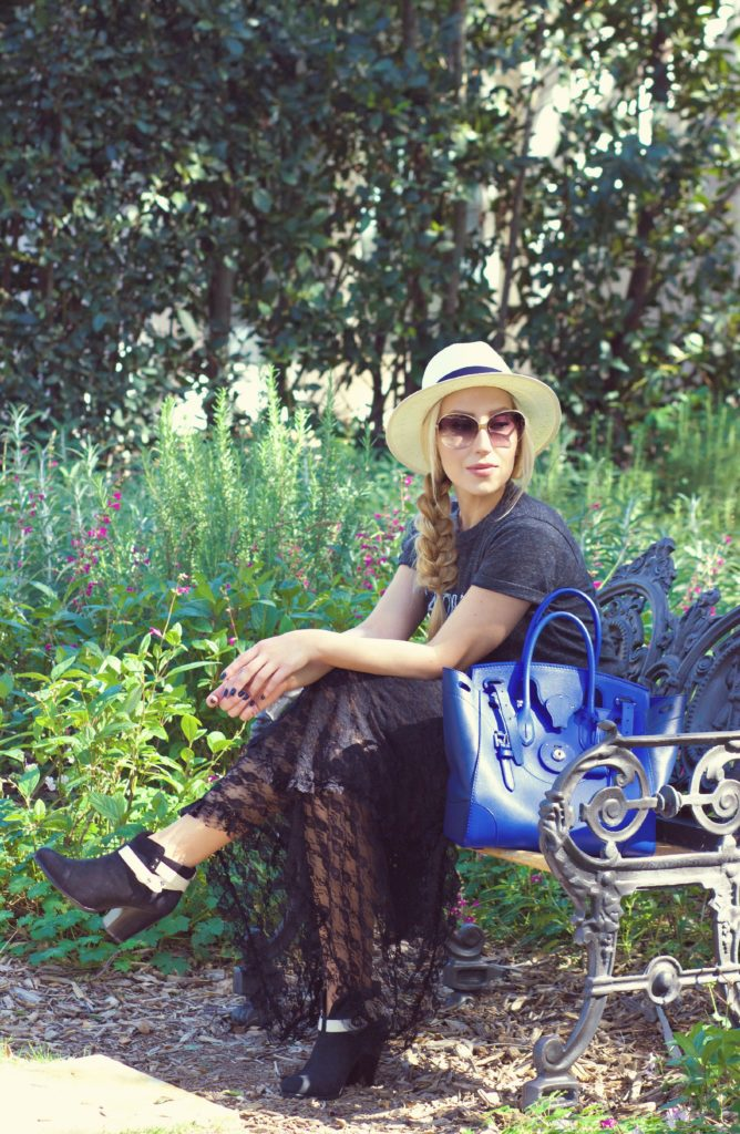 San Ysidro ranch,Lace skirt,Rag and Bone Boots,Rodarte t-shirt,Free People slip dress,Lost in the blooms,Rag and Bone Harrow Boots,Panama hat,Ralph Lauren Ricky bag,Wisteria blooming,Free people French Courtship dress