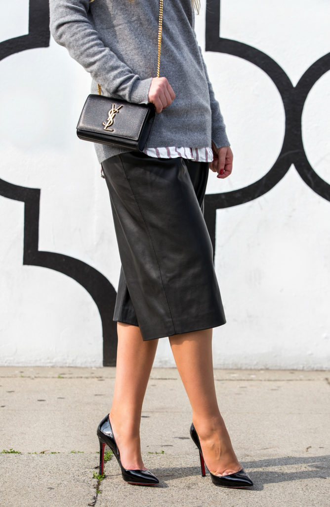Leather Culottes,Christian Louboutin Pigalle Outfit,Zara Cashmere,Saint Laurent monogram bag,Culottes,Zara Culottes,Zara Sweater,SWEATER AND Shirt outfit,Tom Ford Sable Smoke,H&M Trend Shirt