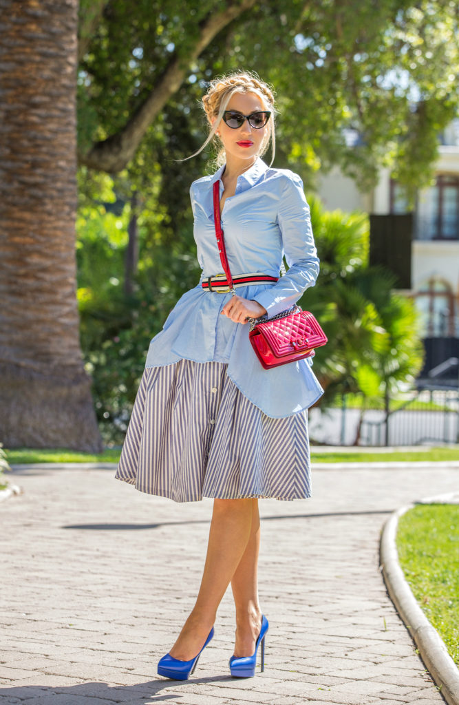 Zara skirt,Saint Laurent Janice pumps,chanel boy red,,H&M shirt,blue and red outfit,Nautical outfit,H&M trend peplum shirt,Chanel boy,Chanel boy bag,Tom Ford Nikita,Midi striped skirt,Chanel Rouge allure Gloss