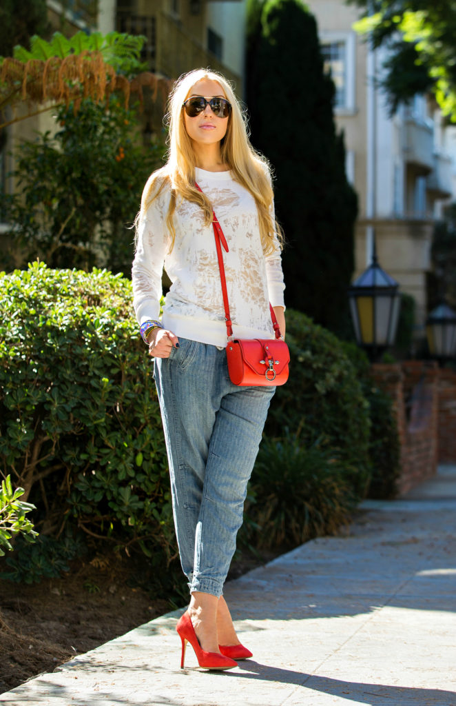 iro sweater,Iro Gareth Sweater,Free People Harem Pants,Red Givenchy Obsedia,Iro top,Givenchy Red Obsedia Bag,Free People Easy Chambray Harem Pants,California Casual style