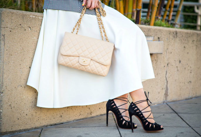 Alaia Lace up Sandals,Alaia and Chanel Outfit,Black and white outfit,Alaia laced sandals,Asos midi scuba skirt,Zara Top,Alaia lace shoes,white skirt look,chanel jumbo,Bow Belt,Jumbo chanel bag,H&M necklace with pendants,Laced up sandals