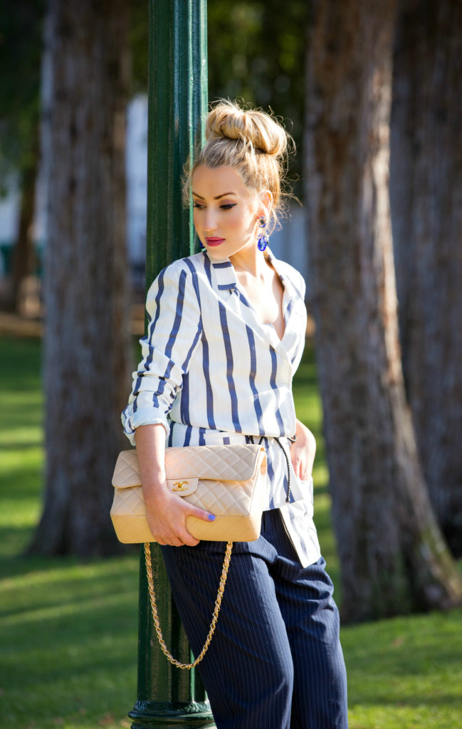 Belting techniques,How to wear Striped Jacket,How to wear stripes,Striped Jacket,bottega veneta belt,Statement earrings with bun,christian louboutin pigalle follies,yellow pumps and Cuffed pants,Messy bun with statement earrings, Statement earrings, change jumbo bag,beige chanel bag, imperfectly perfect bun