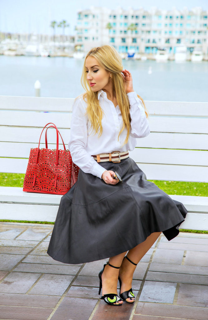 Alaia Laser Cut Bag,Oh Roy Pierre Hardy,Leather Skirt,How to style white shirt,pierre hardy eye sandals,Chanel brooches,chanel pins and brooches,OH Roy Pierre hardy sandals,White shirt and leather skirt,Alaia Laser- Cut Bag,pierre hardy oh roy,Alaia Bag,miss en dior earrings