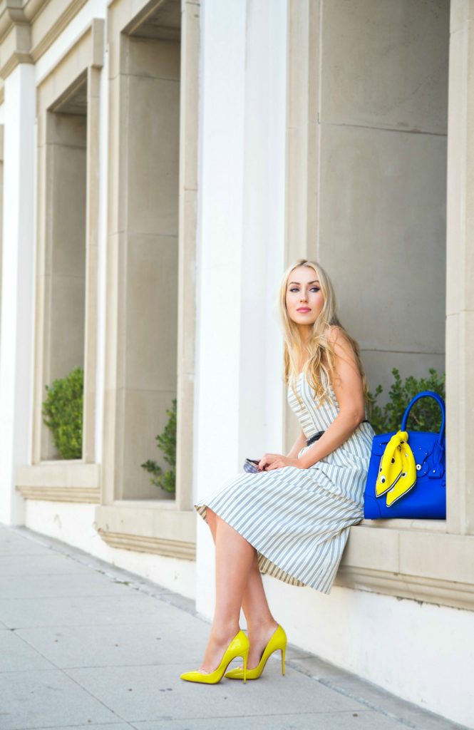 I got my eyes on you,christian louboutin follies,Madewell dress,Anya Hindmarch eyes,anya hindmarch foulard,Madewell cutout sundress in stripe,Madewell cut out  dress,ralph lauren ricky bag,Ricky bag,Anya Hindmarch Nocturnal Silk Scarf,anya hind march foulard,Christian Louboutin Yellow Follies Pigalle