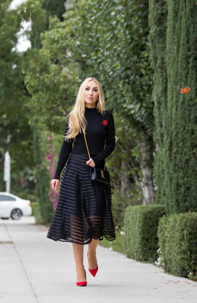 yazbukey c'est ahh brooch,Black and Red outfit,Black Saint laurent bag,Nanette Lepore midi skirt,Nanette Lepore skirt,Aquazzura pumps,yazbukey c'est ahh,aquazzura forever marilyn,Lace and Suede,Lips yazbukey brooch,Black outfit