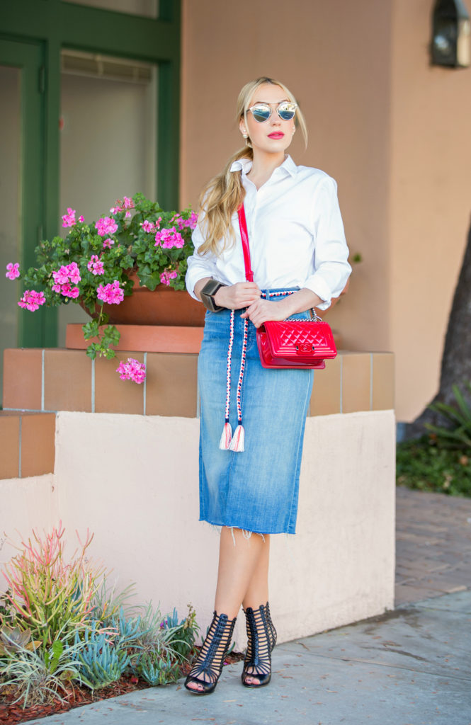 Outfit with Clean Lines ,Denim skirt trend,Mother easy A skirt,how to style Denim skirt,aquazzura gladiator caged sandals,Denim Skirt and White shirt,aquazurra venus sandals,dior so real sunglasses,How to style white shirt,chanel boy bag, j crew rope belt