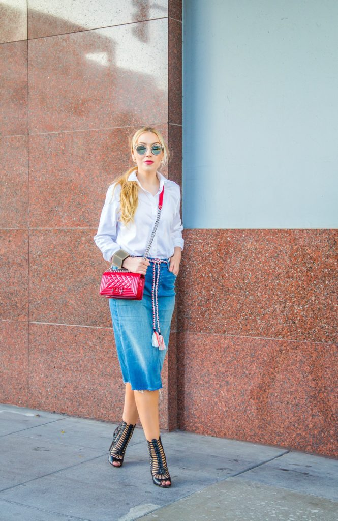 Denim skirt trend,Mother easy A skirt,how to style Denim skirt,aquazzura gladiator caged sandals,Denim Skirt and White shirt,aquazurra venus sandals,dior so real sunglasses,How to style white shirt,chanel boy bag, j crew rope belt