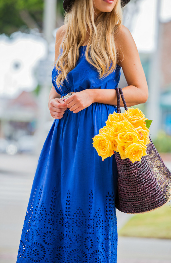 Sensi Studio Bags,raffia wedges,Blue Maxi dress,Susana Monaco Maxi Dress,Yellow and Blue outfit,beach vacation outfit,How to style basket bag,sensi Studio straw Bag,Maxi dress with basket,Nina Dress Susana Monaco,MADEWELL HAT,sensi studio accessories,Susana Monaco Nina Dress,Sasana Monaco Eyelet Nina Dress