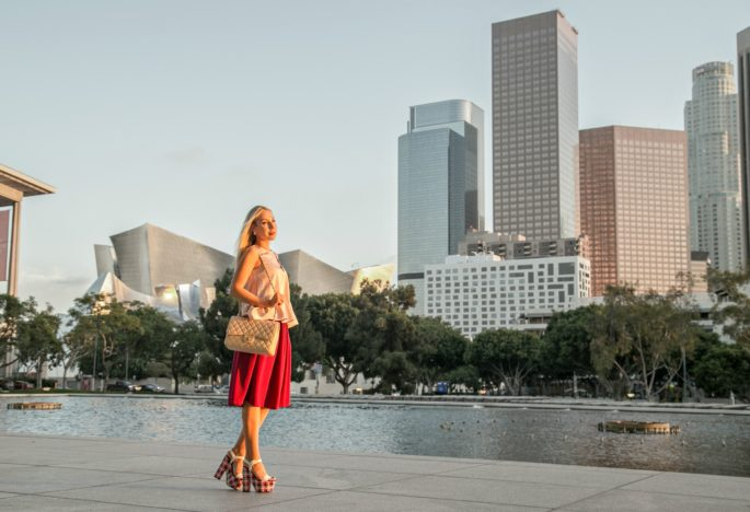 Downtown LA sunset,Christian Louboutin Bella tige,asos midi skirt,Christian Louboutin Platform Sandals,Asos and chanel outfit,Chanel asos h&m outfit,Oscar De la renta jewelry,Chanel jumbo with midi skirt outfit,Oscar de la Renta Tulip pin,Oscar de la renta tulip,Bella Tige,Christian Louboutin Bella tigge platforms,LA golden hour,oxblood skirt,chasing sunset