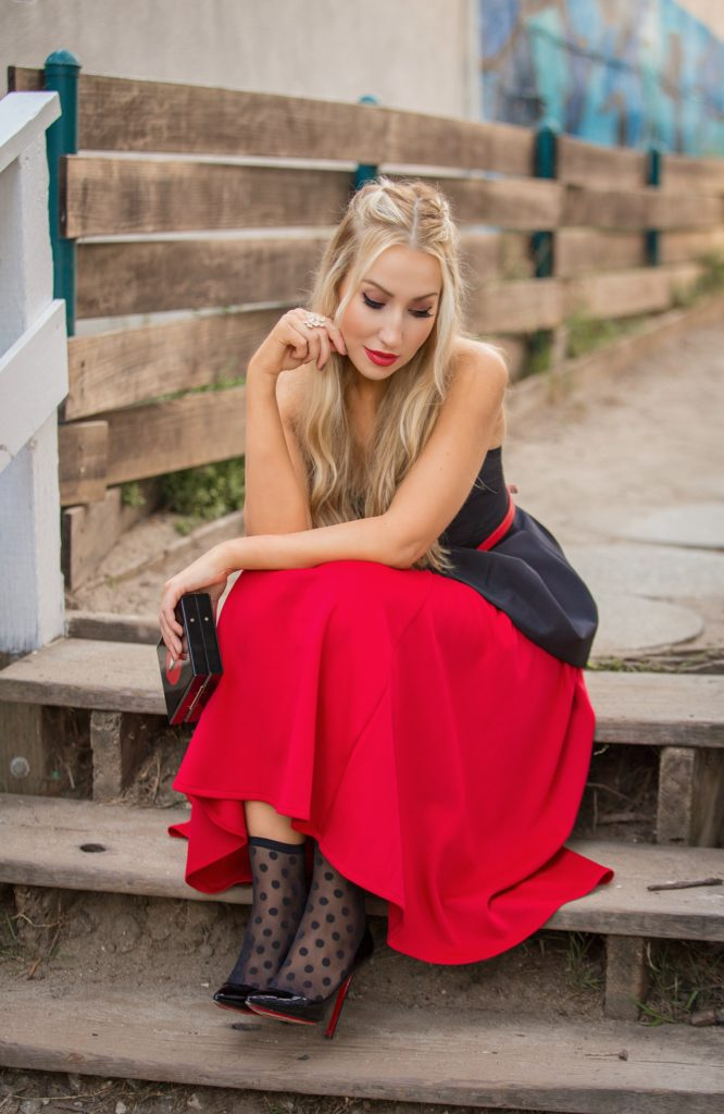Carolina Herrera Belt,Cameo Bustier with skirt outfit,Black and red outfit,Wolford leonie socks,Pumps with socks,Asos Red scuba skirt,Charlotte Olympia Lips Clutch,Red and polka dot,wolford polka dot,Charlotte Olympia kiss clutch,Bustier,Christiane Louboutin Pigalle,Pumps with socks