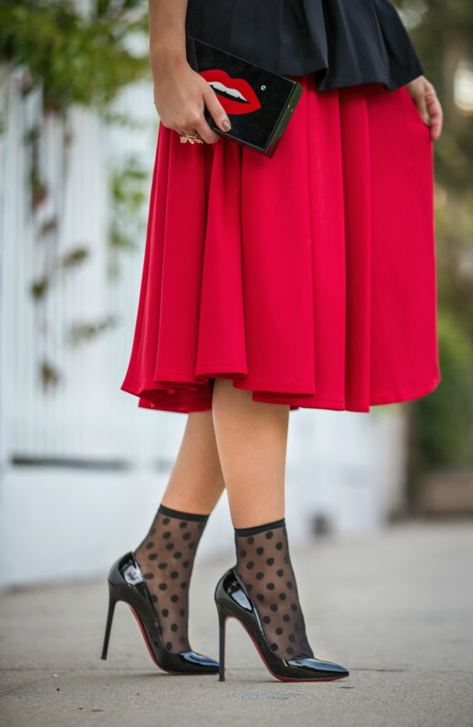 Carolina Herrera Belt,Cameo Bustier with skirt outfit,Black and red outfit,Wolford leonie socks,Pumps with socks,Asos Red scuba skirt,Charlotte Olympia Lips Clutch,Red and polka dot,wolford polka dot,Charlotte Olympia kiss clutch,Bustier,Christiane Louboutin Pigalle
