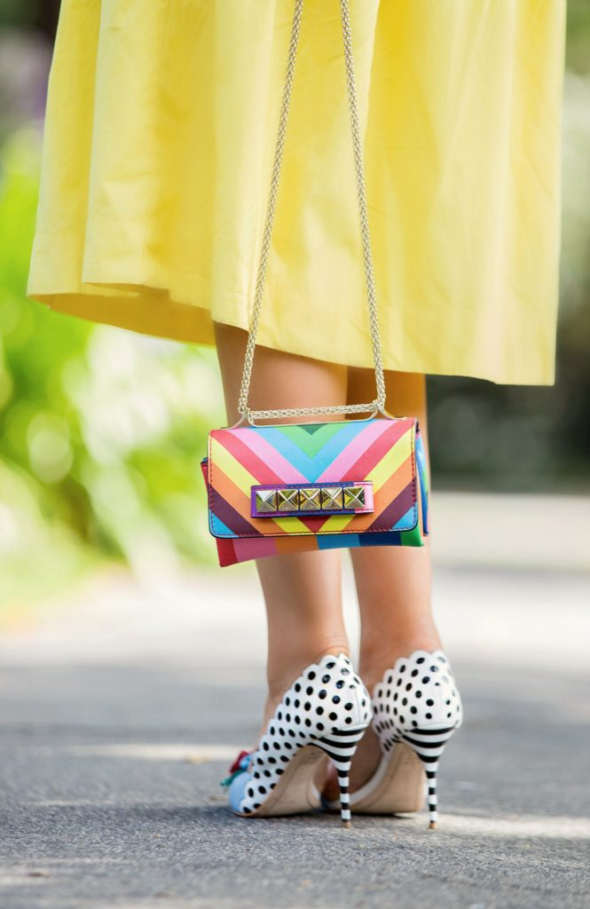 Rainbow Swirl,Valentino Rainbow va va voom,Rainbow bag,dior lunettes so real,Valentino 1973 bag,Valentino Rainbow 1973,Yellow Outfit,Vacation outfit idea,Sophia Webster mika pumps,Sophia Webster Mika flowers pumps,Valentino chevron rainbow