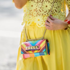Valentino Rainbow va va voom,Rainbow bag,dior lunettes so real,Valentino 1973 bag,Valentino Rainbow 1973,Yellow Outfit,Vacation outfit idea,Sophia Webster mika pumps,Sophia Webster Mika flowers pumps,Valentino chevron rainbow,rainbow swirl