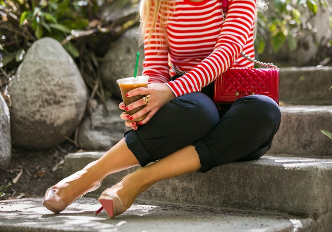Gap basics,Chanel and christian Louboutin accessories,Red and black outfit,Chanel Boy red,Gap red stripe t-shirt,Zara high waisted pants,zara drawstring pants,Red chanel bag,Chanel Red patent boy bag,christian louboutin pigalle plato