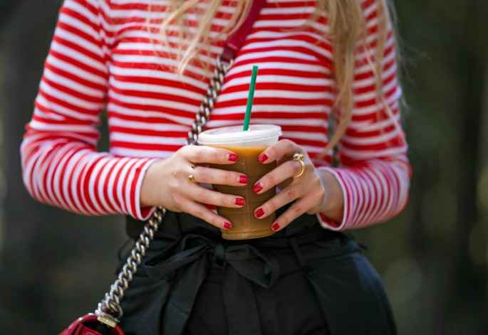 Gap basics,Chanel and christian Louboutin accessories,Red and black outfit,Chanel Boy red,Gap red stripe t-shirt,Zara high waisted pants,zara drawstring pants,Red chanel bag,Chanel Red patent boy bag,christian louboutin pigalle plato,coffee break