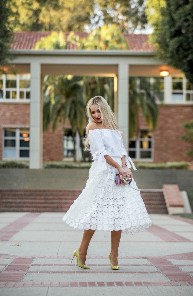 Christian Louboutin Pigalle follies,Zara OFF-THE-SHOULDER POPLIN SHIRT,White outfit midi skirt,Maje midi skirt,White after labor day outfit,Valentino rainbowmMaje JARDIN Mid-length embroidered skirt,yellow christian louboutin pumps,Zara off the shoulder top,Valentino Vava Voom,Valentino Rainbow 1973,Maje JARDIN skirt,Valentino 1973,Maje lace skirt,Cornelia Webb Bracelet