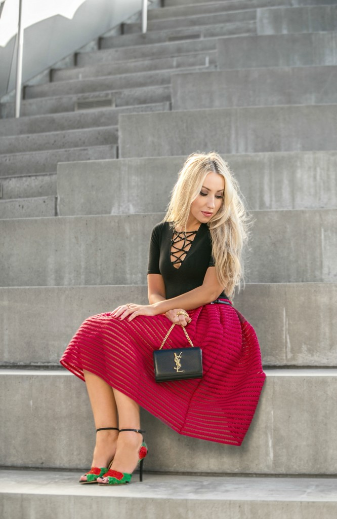 Serena Reformation,maje puffball skirt in openwork knit,Saint Laurent Chain Bag,Reformation lace-up Bodysuit,Maje puffball skirt,Saint Laurent momogram Bag,Maje textured skirt,Maje red textured skirt,Serena Reformation bodysuit,Maje textured skirt,Charlotte Olympia sandals,CHARLOTTE OLYMPIA ROSELINA EMBROIDERED SATIN SANDALS,Reformation Lace up bodysuit