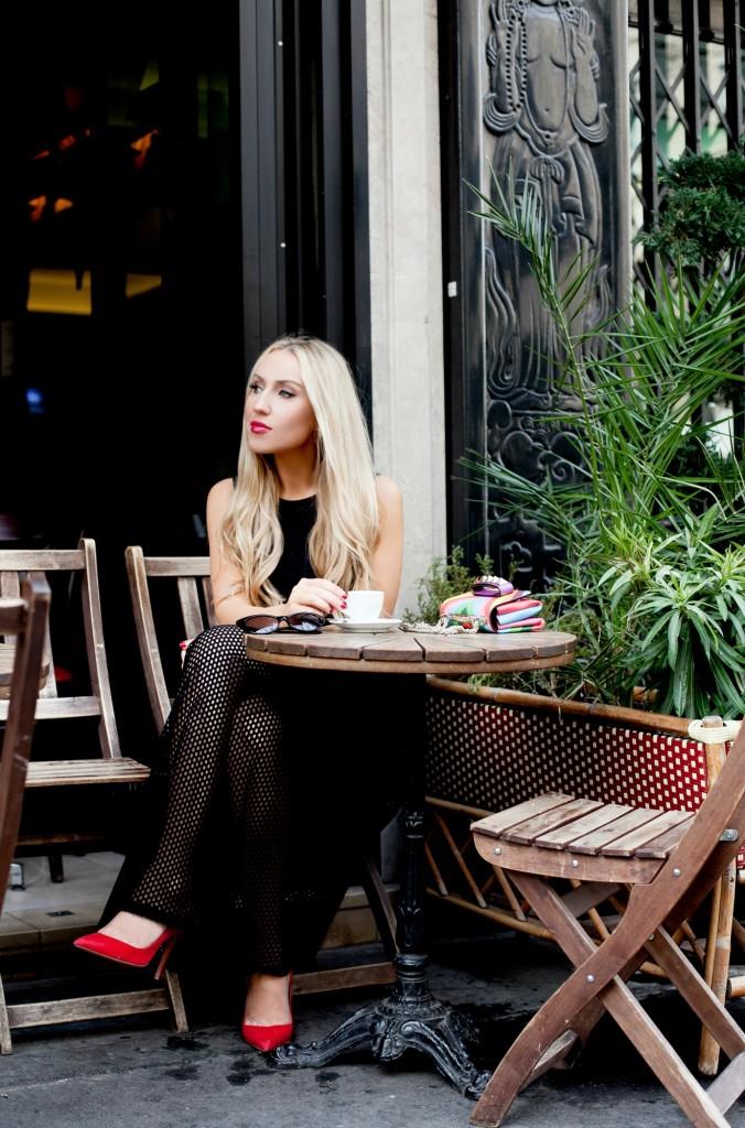 parisian cafes,Sandro Rise dress,Cafe in Paris,Valentino va va voom bag,black dress paris,sandro perforated dress,paris cafe photo shoot,cafe in paris,valentino 1973 vava voom,paris cafe in summer,Sandro lace dress,Sandro Rise dress in black,Valentino rainbow,Aquazzura forever marylin pumps,Parisian Quintessential,tom ford nikita sunglasses