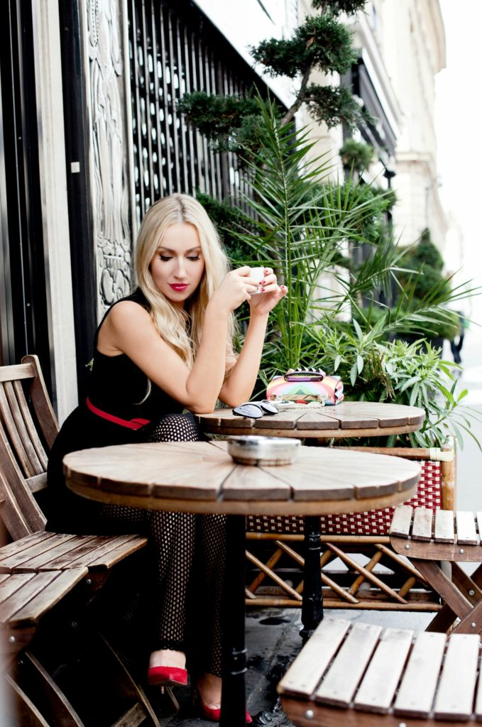 parisian cafes,Sandro Rise dress,Cafe in Paris,Valentino va va voom bag,black dress paris,sandro perforated dress,paris cafe photo shoot,cafe in paris,valentino 1973 vava voom,paris cafe in summer,Sandro lace dress,Sandro Rise dress in black,Valentino rainbow,Aquazzura forever marylin pumps,Parisian Quintessential,tom ford nikita sunglasses