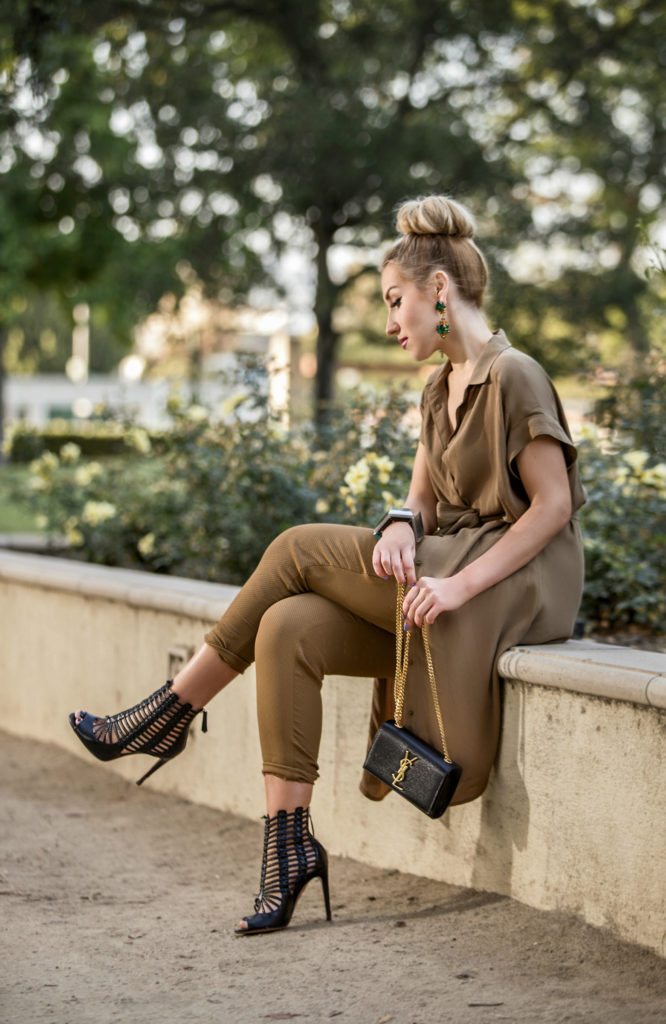 aquazzura venus sandals,Gladiator caged sandals,Beige outfit,Hair bun with statement earrings,Khaki outfit,Khaki short sleeve dress,Fall outfit idea,statement earrings,saint laurent monogram chain bag,marni bangle,fall palette