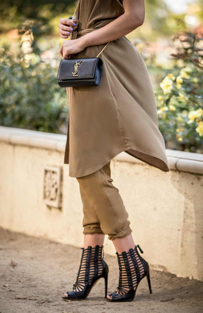 aquazzura venus sandals,Gladiator caged sandals,Fall Palette,Beige outfit,Hair bun with statement earrings,Khaki outfit,Khaki short sleeve dress,Fall outfit idea,statement earrings,saint laurent monogram chain bag,marni bangle