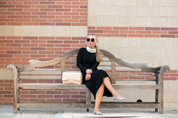 Vivetta hands collar,Valentino rockstud flats, Vivetta Collar with chanel jumbo,vivetta collar,Valentino Rockstud,Black dress outfit,Jumbo chanel,Beige Chanel Jumbo,Vivetta lace collar,