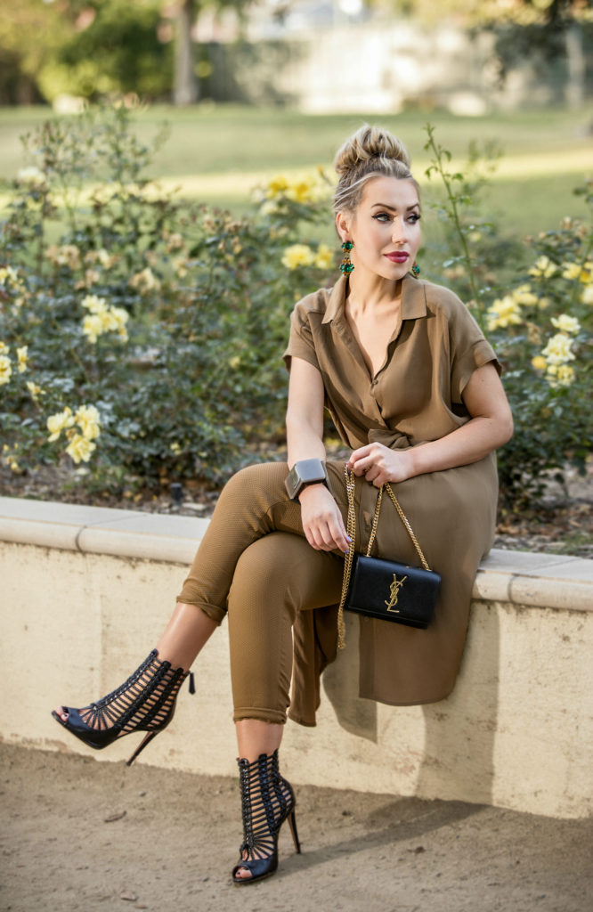 aquazzura venus sandals,fall palette,Gladiator caged sandals,Beige outfit,Hair bun with statement earrings,Khaki outfit,Khaki short sleeve dress,Fall outfit idea,statement earrings,saint laurent monogram chain bag,marni bangle