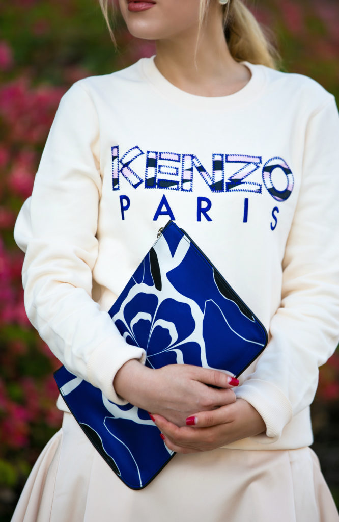 alexander mcqueen pouch, Street style wear, Sporty city look, espadrille, slip ons, mother of pearl shoes, Kenzo outfit, alexander mcqueen bag, Dior so real, Kenzo sweatshirt, Kenzo Paris Sweatshirt,Kenzo street style