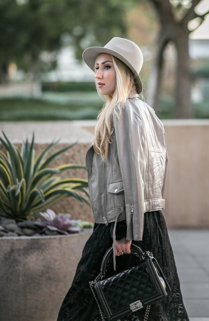 chanel salzburg black bag,chanel salzburg bag,chanel salzburg boy bag,chanel boy bag,zadig and voltaire boots,Rag and Bone Hat,Vita fede rings,Nightcap clothing dress,Leather and lace,chanel and lace,chanel and lace dress,maje leather jacket,beige and black outfit