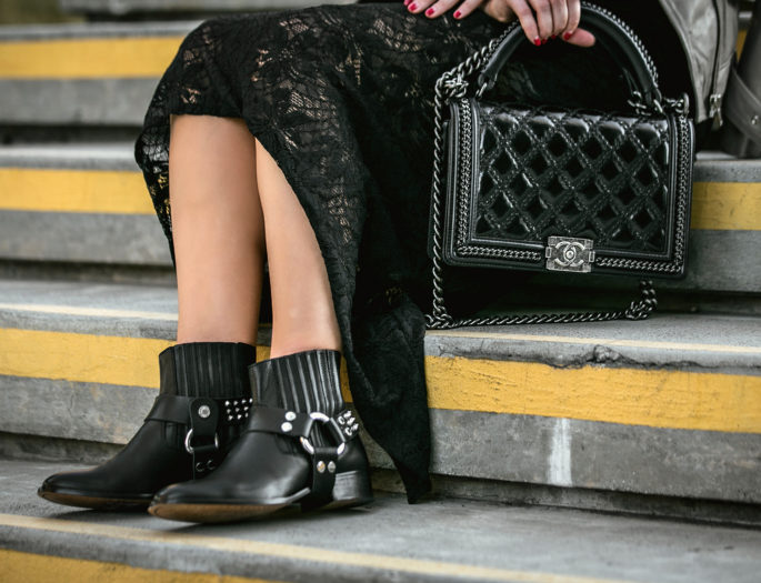 chanel salzburg black bag,chanel salzburg bag,mixing textures,chanel salzburg boy bag,chanel boy bag,zadig and voltaire boots,Rag and Bone Hat,Vita fede rings,Nightcap clothing dress,Leather and lace,chanel and lace,chanel and lace dress,maje leather jacket,beige and black outfit