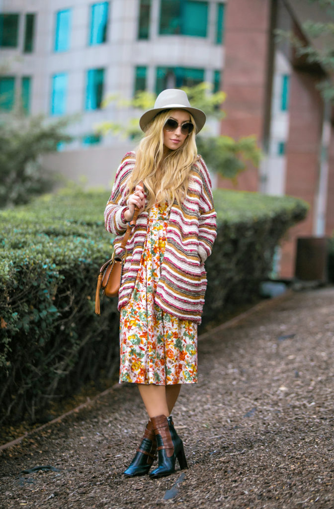 Chloe hudson bag,Chloe Hudson Tassel Bag,Rag&Bone Fedora Hat,Prada Boots,How to mix prints in fall,Chloe Hudson Bag with Tassel,Maje Cardigan,Reformation dress,Hudson Bag Chloe,Chloe Hudson Tan Bag,Chloe Carlina Square Sunglasses,How to wear felt wool hat,Reformation Andy Dress,rustic