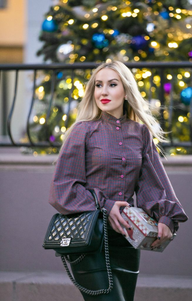 Christmas tartan print shirt,Christmas outfit ideas 2015,Saint Laurent Studded Boots,Chanel salzburg bag,Leather skirt and tartan shirt,Christmas Tartan,Holidays Outfit Idea 2015,Christmas outfit idea 2015,Leather Skirt Outfit,gingham,tartan print,Tis The Season
