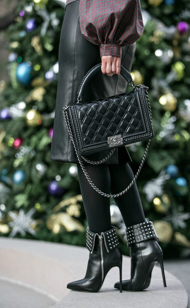 Christmas tartan print shirt,Christmas outfit ideas 2015,Saint Laurent Studded Boots,Chanel salzburg bag,Leather skirt and tartan shirt,Christmas Tartan,Holidays Outfit Idea 2015,Christmas outfit idea 2015,Leather Skirt Outfit,gingham,tartan print,Tis The Season,wolford tights