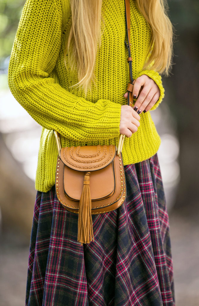 maison michel henrietta hat, Prada boots,Plaid skirt,Chloe Hudson,Prada boots with missoni socks, How to wear chartreuse color,Chloe tan tassel Hudson leather bag,Missoni socks prada boots chloe bag, Chloe Carlina sunglasses, knits and prints,msg skirt,tan bag,tassel