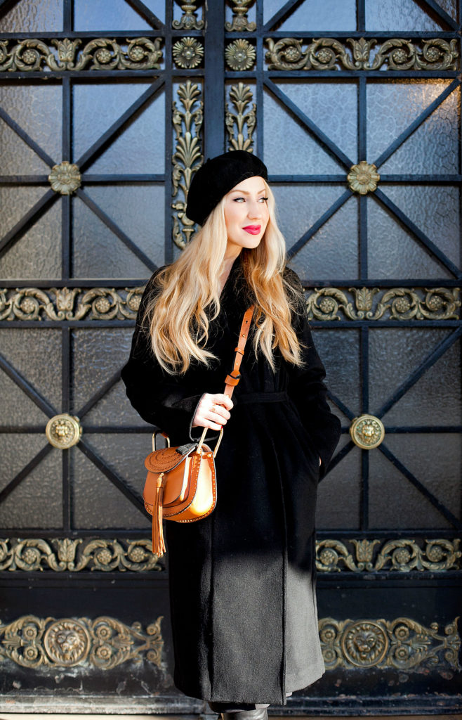 beret,Uniqlo Coat black,gianvito rossi stilo boots,uniqlo coat,Chloe hudson tan bag,lemaire uniqlo coat,beret outfit,Paris in autumn,black outfit in Paris,what to wear in paris,wrap coat,otk boots,fall in Paris