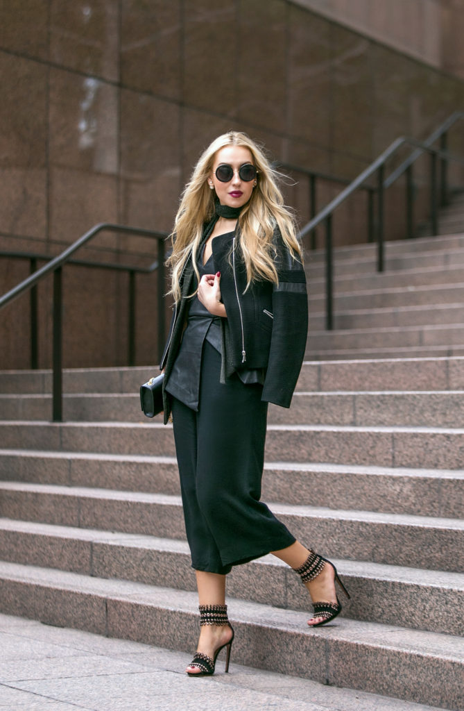 black minimalistic outfit,ALAIA heels,Alaia Sandals,Culottes outfit,YSL MONOGRAM BAG,How to wear culottes,the row sound sunglasses,finders keepers bustier,dolan t-shirt,dior fluid stick in Trompe L'Oeil,Sandro jacket,ysl bag,saint laurent bag,skinny scarf